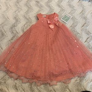 Bonnie Jean Coral Embellished Frill Party Dress 3T